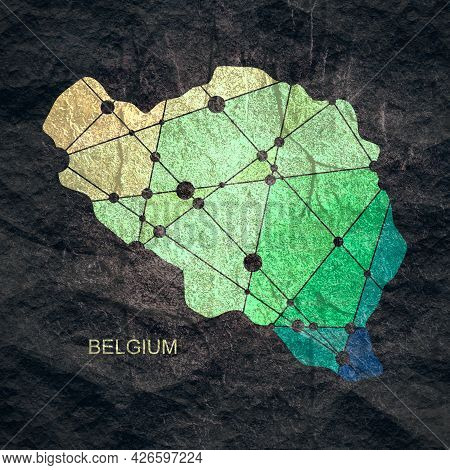 Map Of Belgium. Concept Of Travel And Geography.