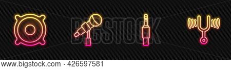 Set Line Audio Jack, Stereo Speaker, Microphone And Musical Tuning Fork. Glowing Neon Icon. Vector