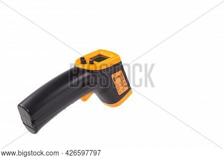 Yellow-black Pyrometer Isolated On White Background. A Device For Non-contact Temperature Measuremen