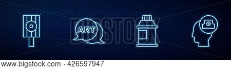 Set Line Paint, Gouache, Jar, Dye, Spray Can Nozzle Cap, Speech Bubble With Text Art And . Glowing N