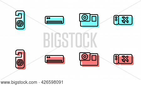 Set Line Action Camera, Please Do Not Disturb, Air Conditioner And Airline Ticket Icon. Vector