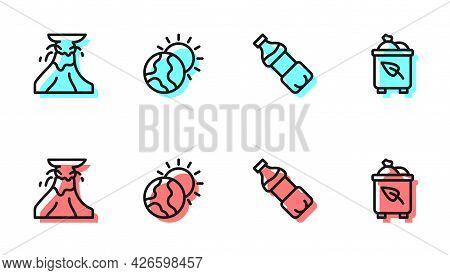 Set Line Bottle Of Water, Volcano Eruption With Lava, Global Warming And Recycle Bin Recycle Icon. V