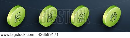 Set Isometric Line Address Book, User Manual, Speech Bubble Chat And Woman With Headset Icon. Vector