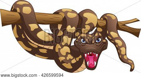 Angry Snake Cartoon On A White Background