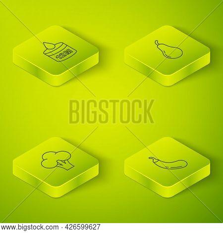 Set Isometric Line Pear, Broccoli, Eggplant And Organic Cosmetic Icon. Vector