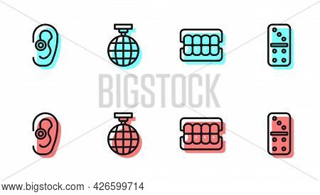Set Line False Jaw, Hearing Aid, Disco Ball And Domino Icon. Vector