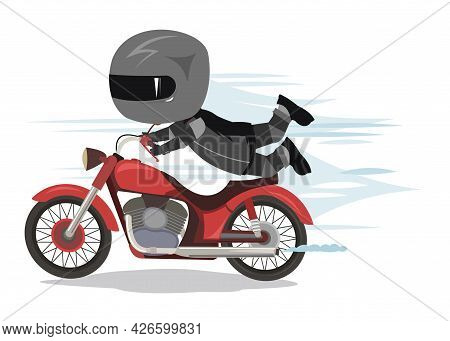 Funny Stupid Motorcyclist. Clumsy Crazy. Flat Cartoon Style. Isolated Illustration On A White Backgr