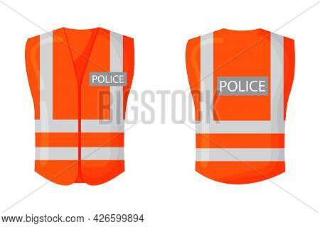 Police Vest. Reflective Safety Vest. Vector Isolated.