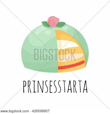 Green Marzipan Cake. Pink Marzipan Rose. Swedish Birthday Cake. Prinsesstarta. Traditional Swedish S