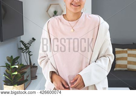 Woman Wearing Powdery Color T-shirt Mock Up. Bella Canvas Mockup. Mothers Day Shirt