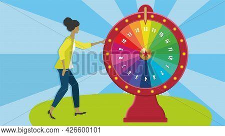 Wheel Of Fortune, Spinning Wheel. Dimension 16:9. Vector Illustration. Eps10