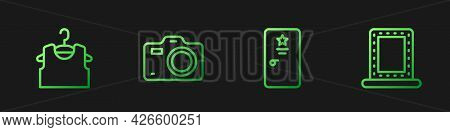 Set Line Backstage, Sleeveless T-shirt, Photo Camera And Makeup Mirror With Lights. Gradient Color I