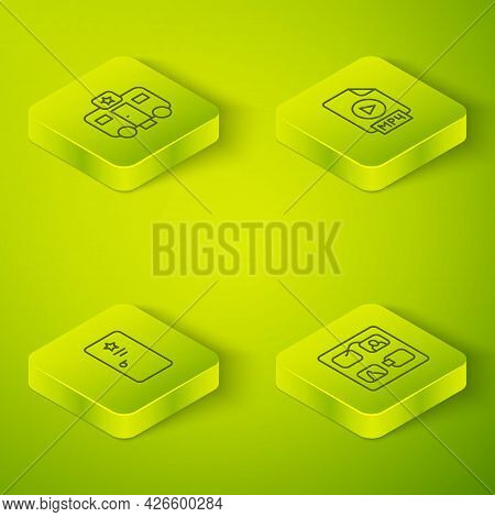 Set Isometric Line Mp4 File Document, Backstage, Storyboard And Actor Trailer Icon. Vector