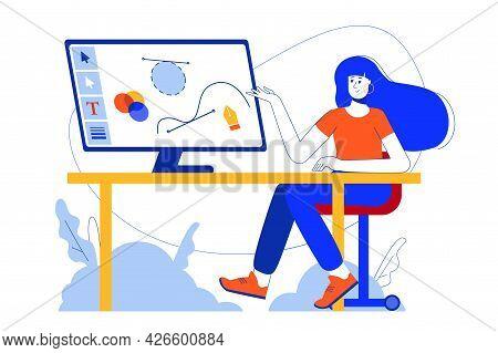 Design Studio Web Concept. Woman Designer Illustrator Works At Computer, Drawing Graphic Elements. V