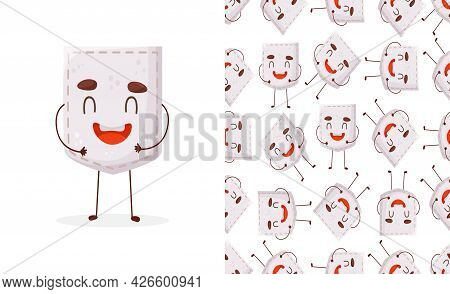 Seamless Pattern Garlic Shaped Patch Pocket. Character Pocket Garlic. Cartoon Style. Design Element.