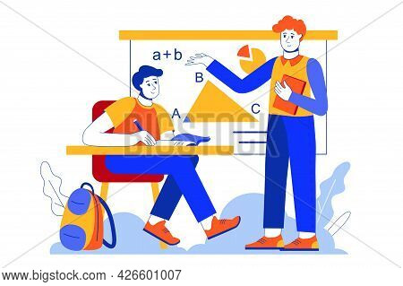 School Learning Web Concept. Teacher Teaches In Lesson, Student Learns In Classroom, Pupil Studying.