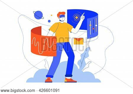 Cyberspace Web Concept. Man In Virtual Reality Glasses Studying Or Gaming, Modern 3d Vr Technology.