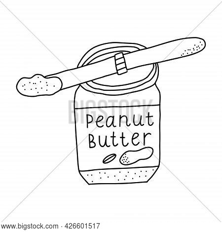 Hand Drawn Vector Illustration Of Open Peanut Butter Glass Or Plastic Jar With Knife Scoop Of Peanut