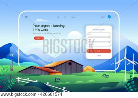 Organic Farming Lifes Work Concept. Agricultural Business Website Layout. Eco Friendly Modern Techno
