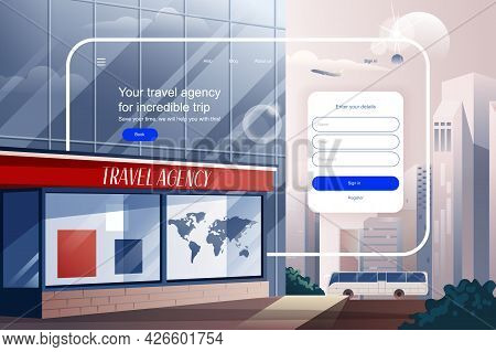 Travel Agency For Incredible Trip Concept. Service Of Choosing And Booking Of Tours And Tickets Webs