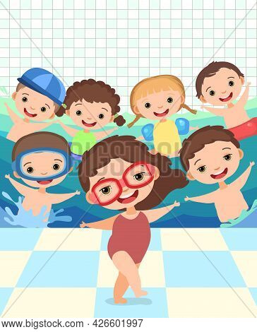 Children. Boys And Girls. Have Fun. Swimming Pool With Water Waves. Wall With Tiles. Swimming, Divin
