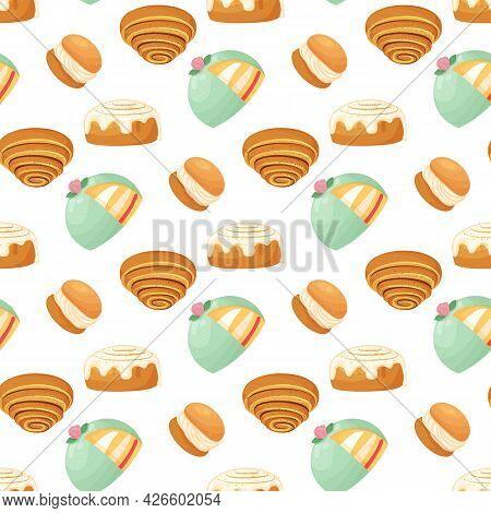 Seamless Pattern With Traditional Swedish Sweets. Kanelbulle Roll, Cinnamon Bun, Prinsesstarta, Seml