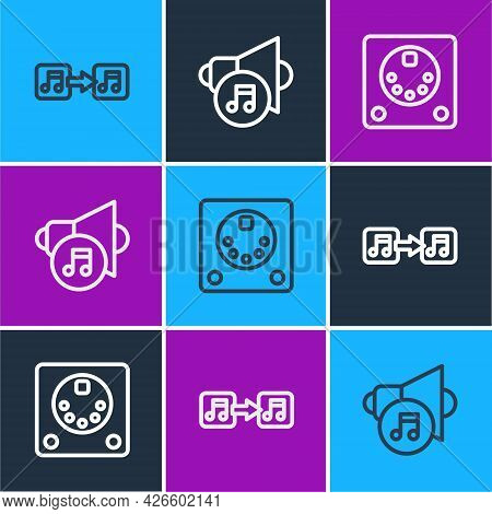 Set Line Music Note, Tone, Drum Machine And Speaker Volume Icon. Vector