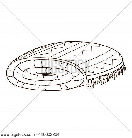Folded Blanket. Cover. Design Element With Outline. The Theme Of A Cozy Winter, Autumn. Doodle, Hand