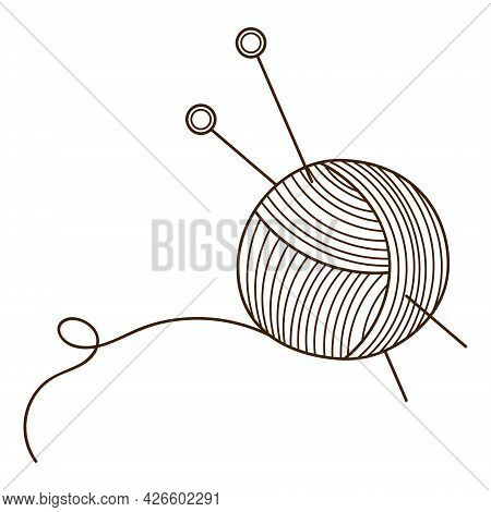 A Skein Of Yarn With Knitting Needles. Needlework, Knitting. Design Element With Outline. Doodle, Ha