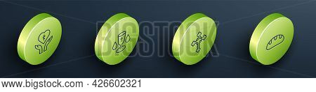 Set Isometric Line Religious Cross In Heart, Christian Chalice, And Bread Loaf Icon. Vector