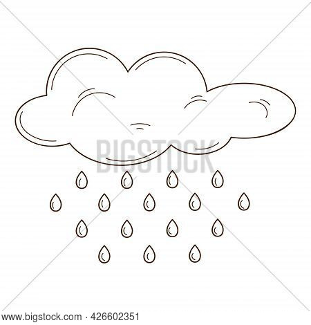 A Cloud With Raindrops. A Weather Phenomenon. Design Element With Outline. Autumn Theme. Doodle, Han