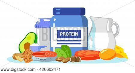 Protein Vector Illustration Amino Acid Food Menu Persons Concept Protein Containing Products Variety