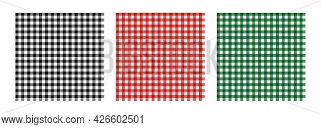 A Set Of Vector Abstract Seamless Patterns. The Vichy Cage. Suitable For Easter Backgrounds, Textile