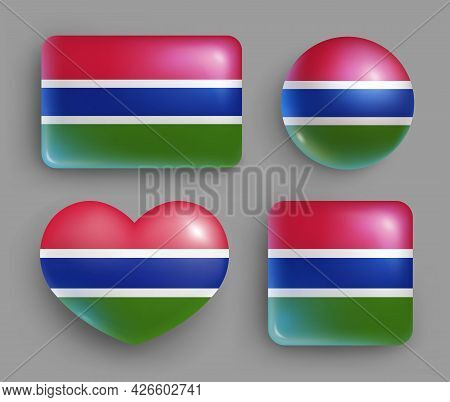 Set Of Glossy Buttons With Gambia Country Flag. Middle African Republic National Flag, Shiny Geometr