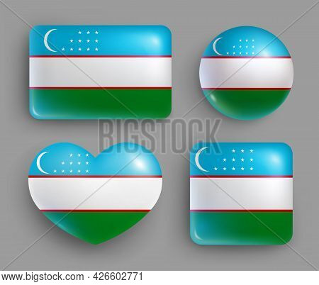 Set Of Glossy Buttons With Uzbekistan Country Flag. Middle Asia Country National Flag, Shiny Geometr