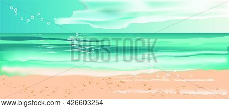 Summer Background Tropical Sunny Deserted Beach. Sea And Clouds