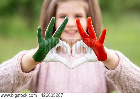 Child Hands In Heart Shape Painted In Mexico Flag Color, Focus On Hands. Love Mexico. Concept Of Mex