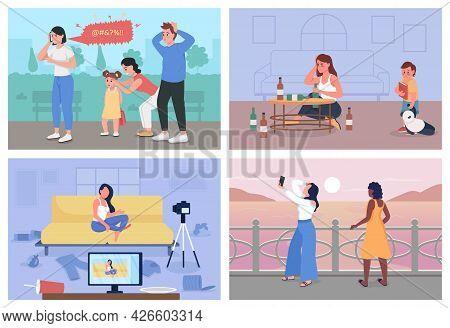 Bad Habits Flat Color Vector Illustration Set. Anger Management Problem. Digital Addiction. Upset Me