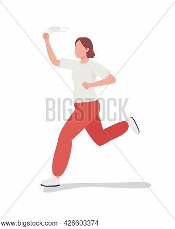Running Girl Removes Mask Semi Flat Color Vector Character. Happy Figure. Full Body Person On White.