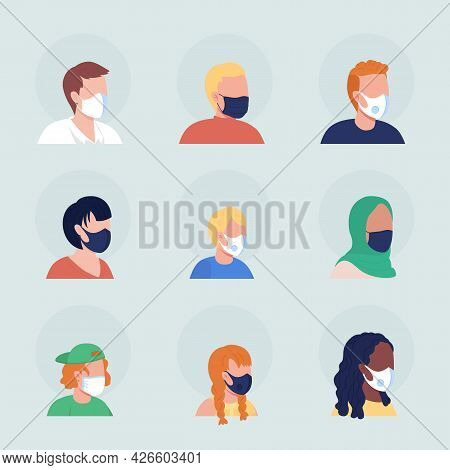 Surgical Masks Semi Flat Color Vector Character Avatar Set. Portrait With Respirator From Three Quar