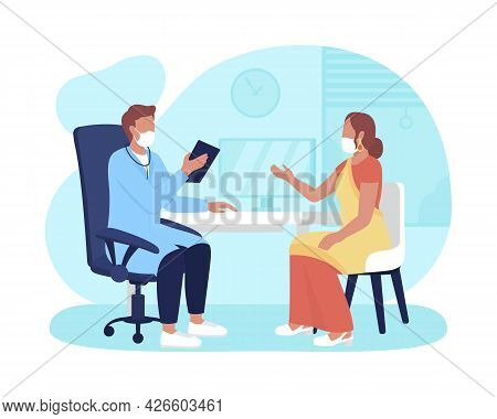 Physician Office Consultation 2d Vector Isolated Illustration. Medical Care Appointment During Coron