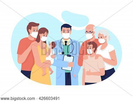 Family Medicine 2d Vector Isolated Illustration. Treating Adults, Seniors And Children Flat Characte