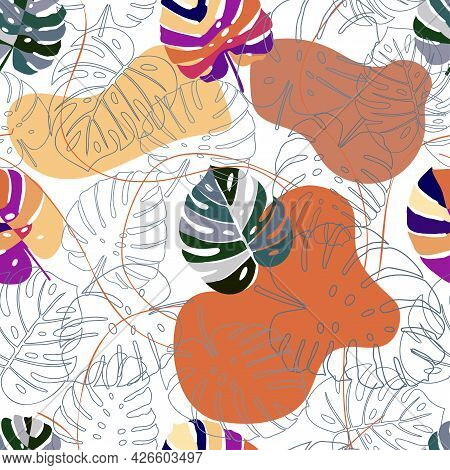 Monstera Pattern. Colorful Monstera Leaves In Trendy Style.