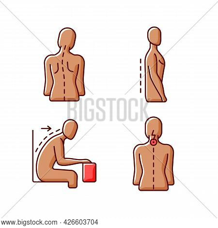 Bad Posture Problems Rgb Color Icons Set. Head Tilt. Flatback Syndrome. Spinal Abnormalities. Neck P