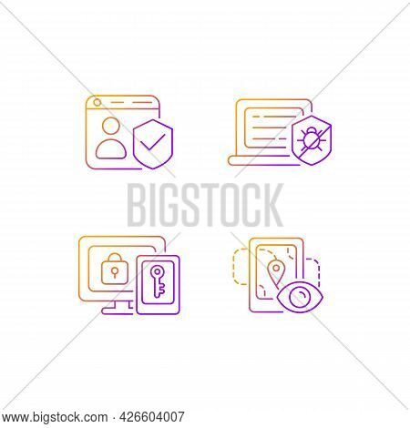 Protecting Right To Online Privacy Gradient Linear Vector Icons Set. Securing Accounts. Antivirus So