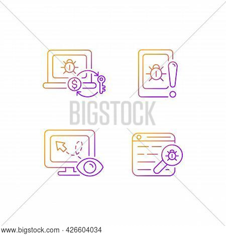Internet Censorship Gradient Linear Vector Icons Set. Ransomware. Cell Phone Bugging. Web Bug. Locat