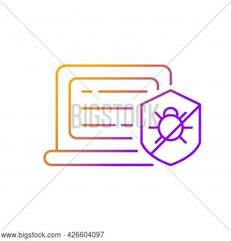 Antivirus Software Gradient Linear Vector Icon. Anti-malware. Digital Virus Detection And Removal. P