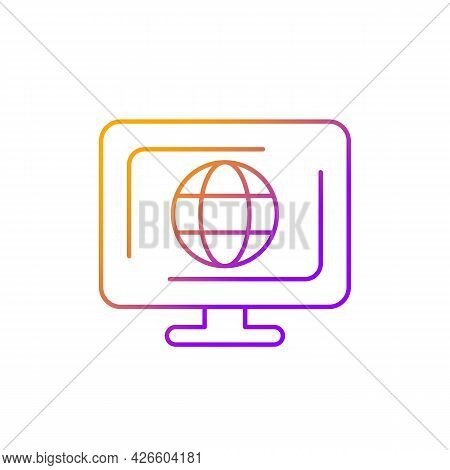 Cyberspace Gradient Linear Vector Icon. Virtual Computer World. Internet Environment. Interdependent