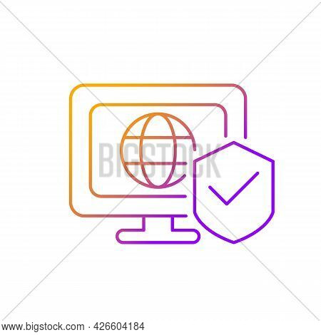 Network Security Gradient Linear Vector Icon. Protection From Unauthorized Intrusion. Servers, Devic