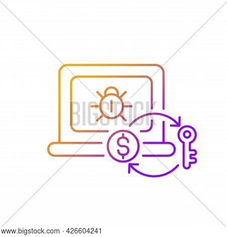 Ransomware Gradient Linear Vector Icon. Encrypting Victim Files, Demanding Payment. Malicious Softwa